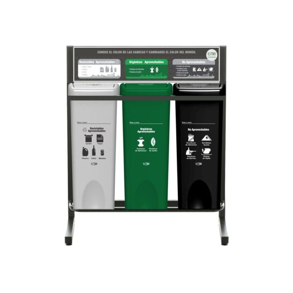 Punto-Ecológico-3-Puestos-53-Lt-Blanco-Verde-Negro-Estra